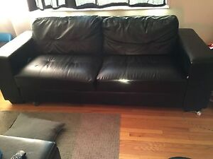 Black bonded leather couch small mark picture to show