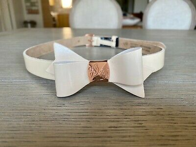 Ted Baker Weldon Patent Leather Bow Belt, Nude, Size 0/1