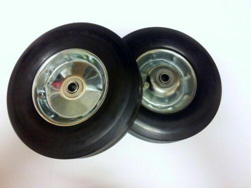 "2pc 10"" inch Solid Rubber Dolly Wheels Heavy Duty Never Flat 5/8"" Axle"