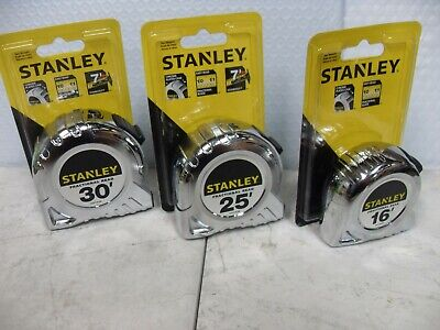 NEW STANLEY 16', 25', OR 30' CHROME TAPE MEASURE~ FRACTIONAL READ ~ / (Fractional Tape Measure)