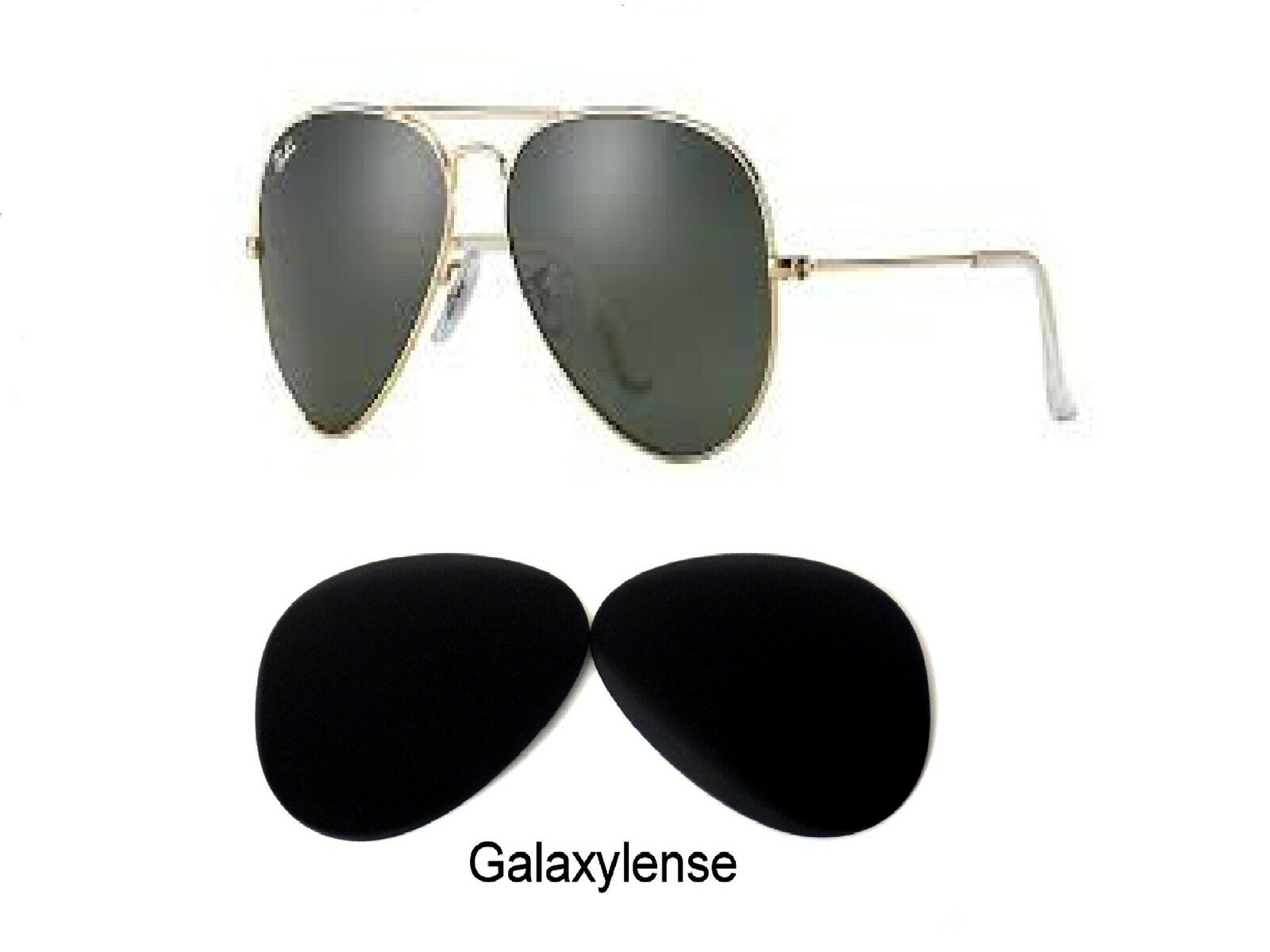 ea1c5caa3d49d Galaxy Replacement Lenses For Ray Ban RB3025 Aviator Black Polarized 62 mm