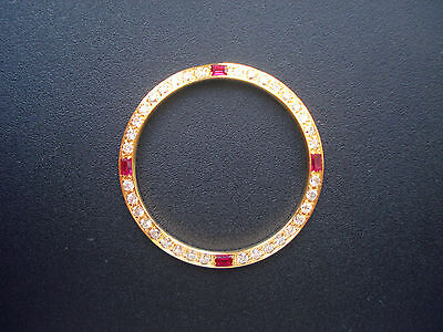 GOLDEN BEZEL WITH 4 RUBY CZ RHINESTONES FOR MENS 36MM ROLEX DATEJUST OR DAY-DATE