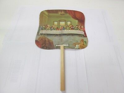 The Last Supper Church Fan With Farm Advertisement Vintage From Early 1950s