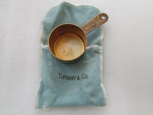 Tiffany & Co Makers Sterling Silver Gold Tone Measuring Cup with storage bag