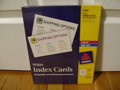 Avery Unruled Index Cards Laser Inkjet Computer Printer 3x5 White 150box 5388