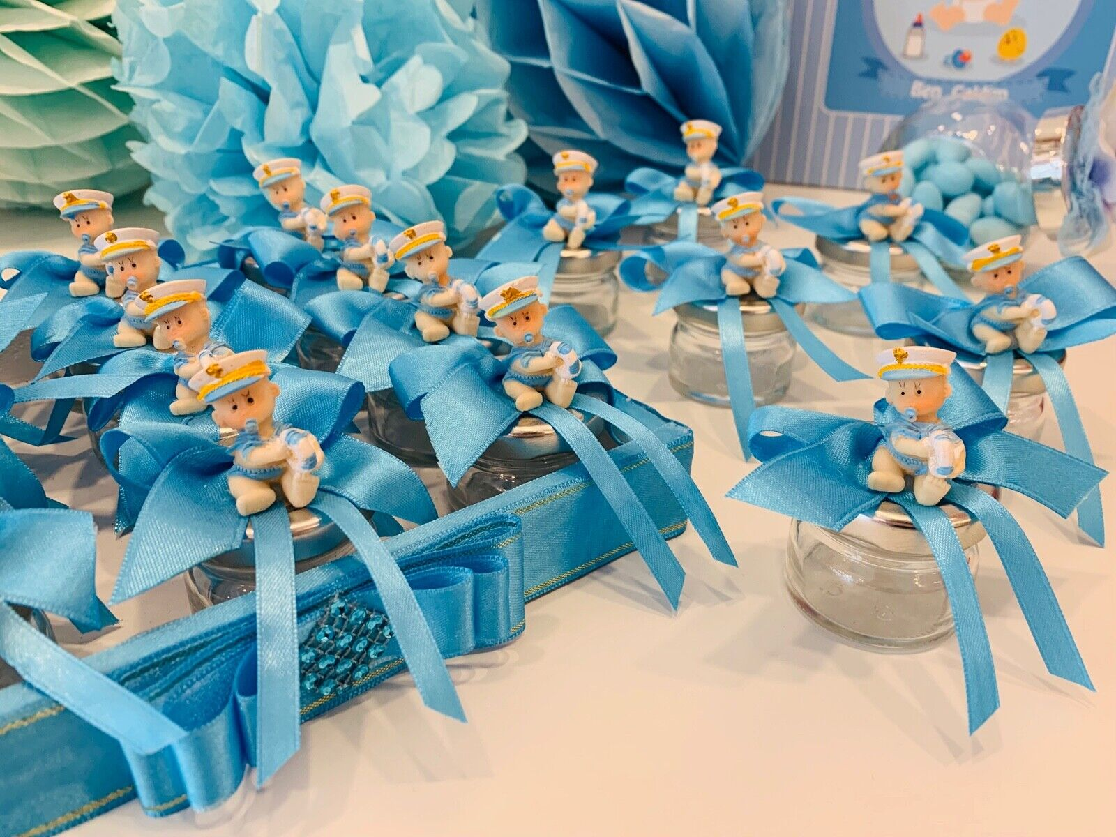 Gastgeschenk Babyshower Junge Glas Döschen Kavanoz Bebeksekeri Mevlüt Bebek blau