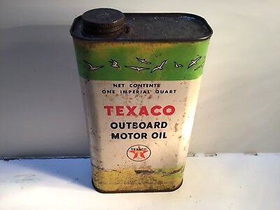 Vintage Texaco Outboard Oil Can Quart Metal gas rare sign tin handy GM Imperial