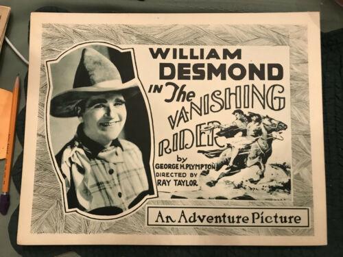 Vanishing Rider 1928 Universal silent western 11x14 title lobby William Desmond