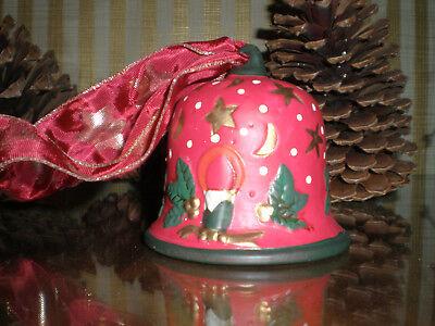Weihnachtsglocke Keramik Weihnachtsdeko rot