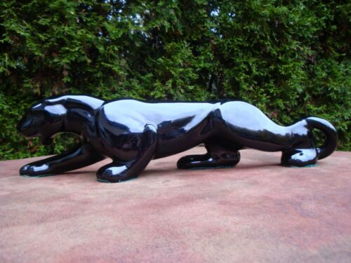 "18"" Ceramic Black Panther on the Prowl Figure EX"