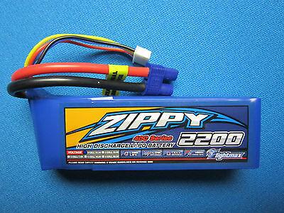 ZIPPY 2200mAh 3S 11.1V 40C 50C LIPO BATTERY EC3 BLADE 400 45