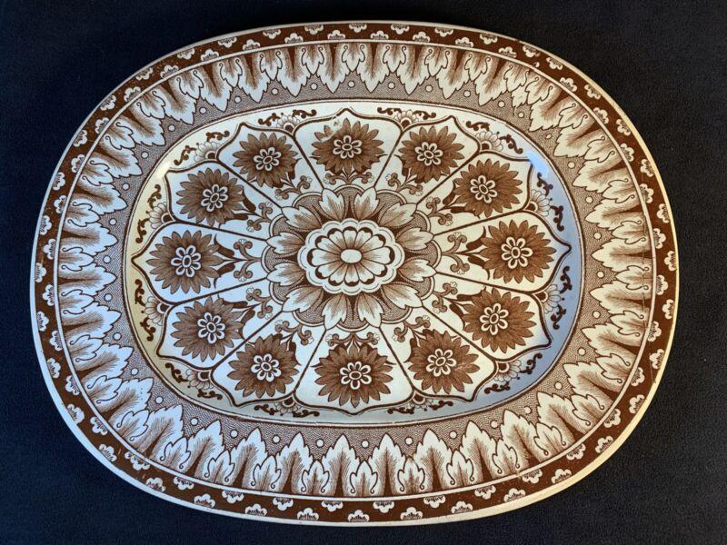 "Gorgeous Antique Brownfield & Son CYPRUS 13.75""x 11"" Transferware Platter Turkey"