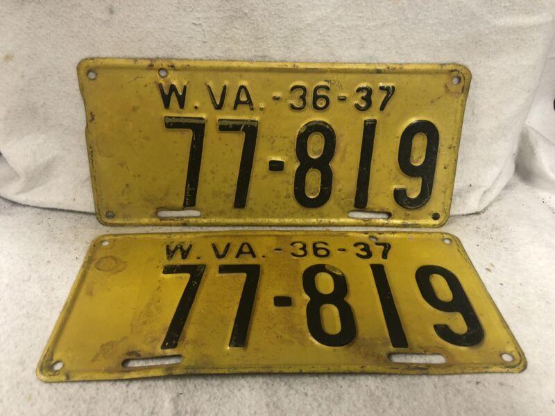 Vintage 1936/1937 West Virginia License Plate Pair