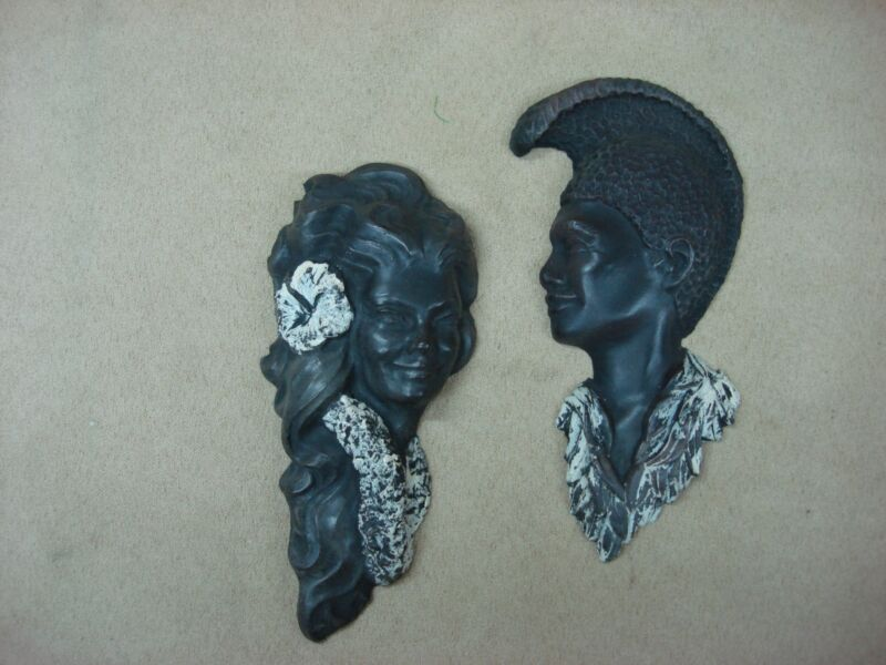 PAIR OF VINTAGE 1975 HAWAII CARVED BEAUTIES WITH BLACK CORAL WALL HANGING!