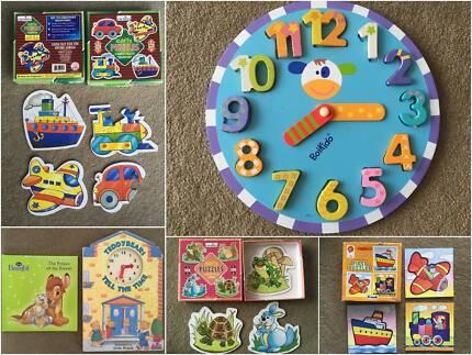 5pcs Toy Bundle Clock Puzzles Books baby kids boys girls bulk buy