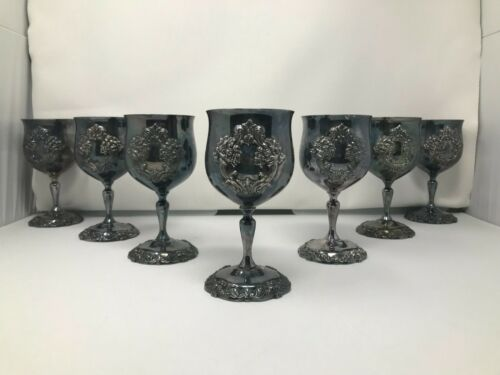"""Set of 7, REED & BARTON KING FRANCIS 6-1/2"""" #1659 SILVERPLATE WATER WINE GOBLET"""