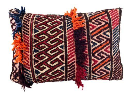"Antique Lumbar Afghan Tribal Pillow 17.5"" W"