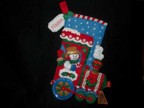 """All Aboard Train Handmade Felt Stocking Personalized Finished Complete Lined 16"""""""