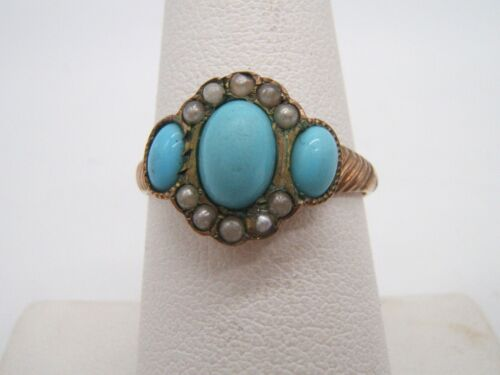 ANTIQUE 10K GOLD RING W/ TURQUOISE