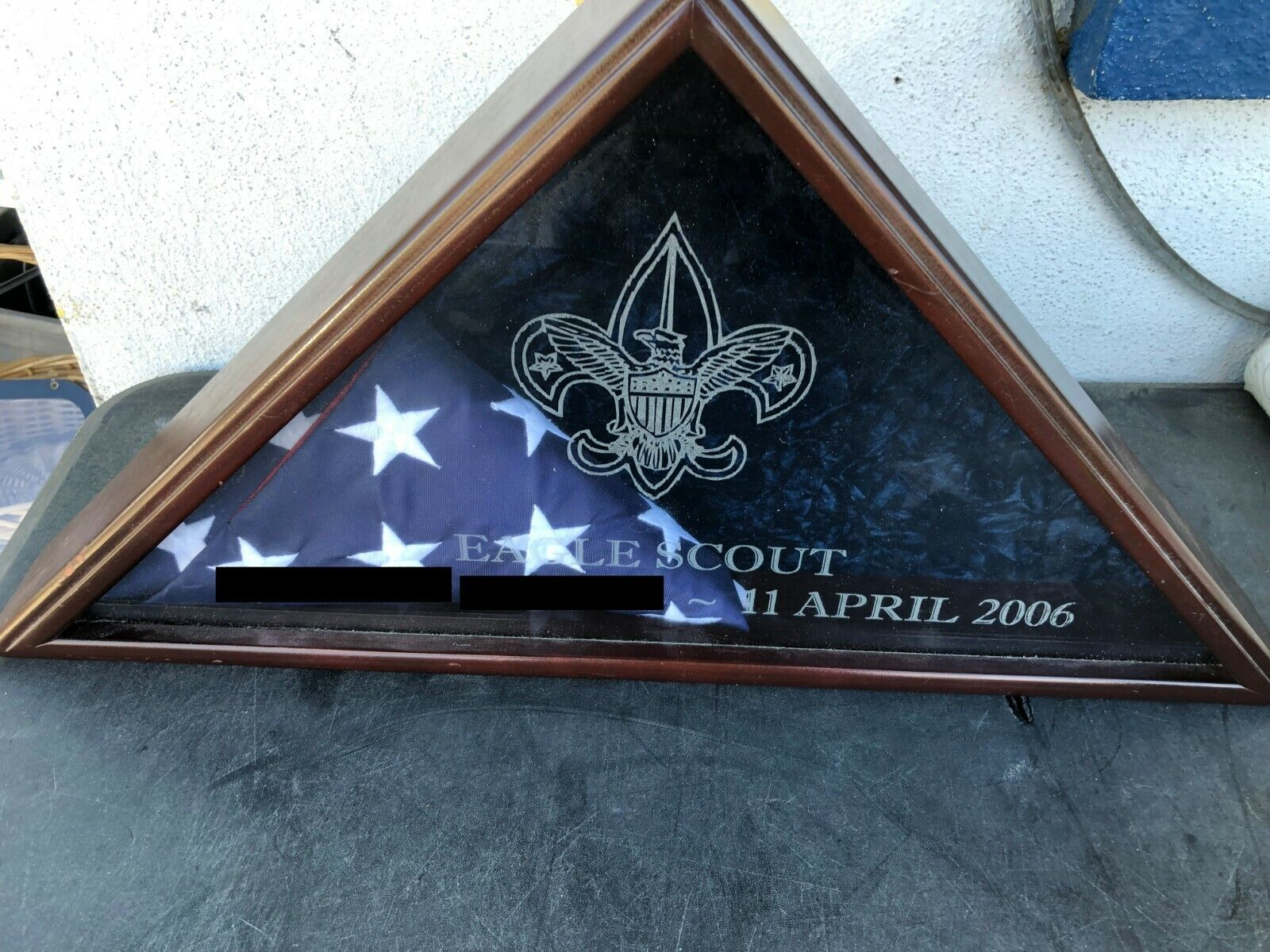 Boy Scout Eagle Scout Memorial Flag with Decorative Box Eagle Emblem Logo
