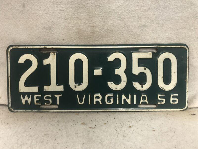 Vintage 1956 West Virginia License Plate