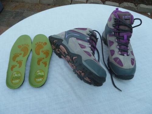 Youth 4 Girls or Women 5.5 Hi-Tec Suede Waterproof Hiking Boots Gray Pink Purple