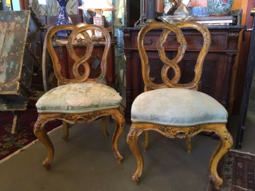 18th Century Hand Painted Rococo Style Venetian Upholstered Side Chairs