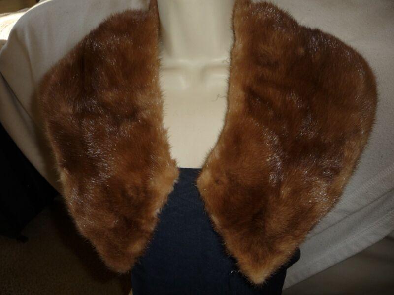#214G    vtg REAL FUR  MINK  collar  Brown   unlined
