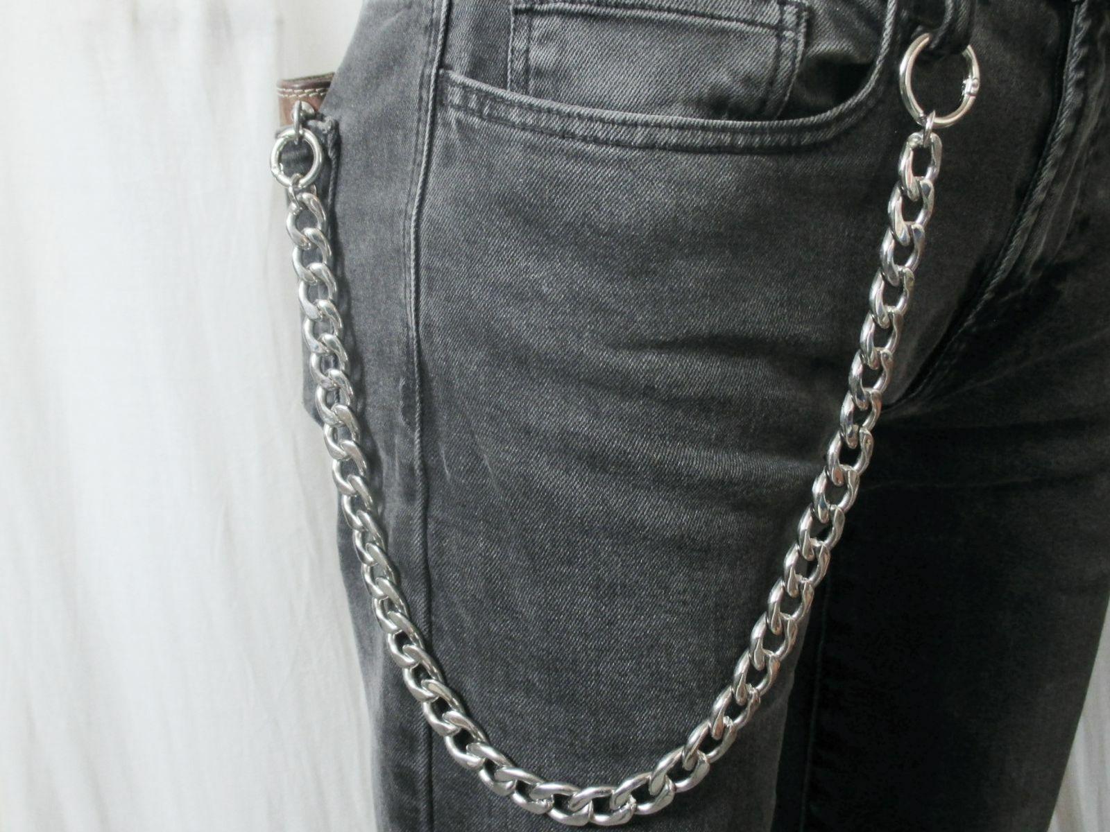 Hosenkette aus Edelstahl mit Ringkarabiner Biker Börsenkette Schlüsselkette