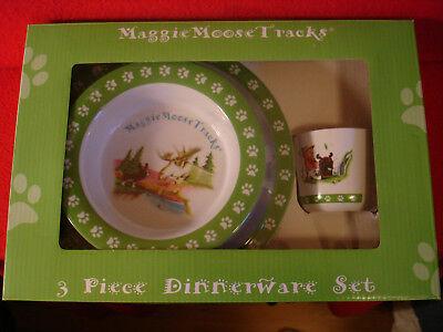 - Maggie Moose Tracks 3-Piece Melamine Dinnerware Set BPA & PVC Free