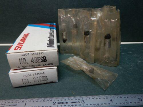 Sylvania Panel Mount Pilot Lamps 120PSB5 (9) 48ESB5 (10) 24ESB5 (10)