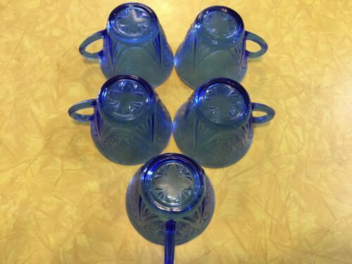 5-Hazel Atlas Cobalt Blue Royal Lace Depression Glass Cups