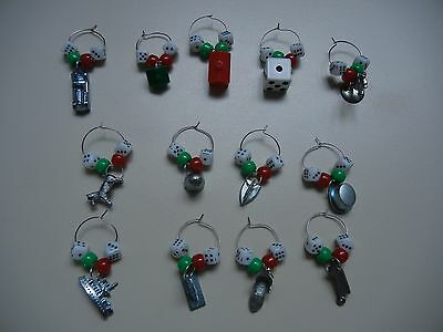Monopoly Token Wine Glass Charms identifiers (set of 13)