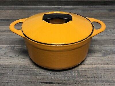 VTG Cousances Le Creuset Enamel Cast Iron Small Dutch Oven Pot & Lid #16 Yellow