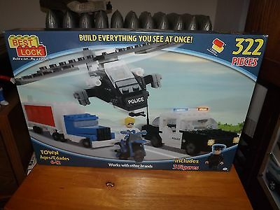 BEST-LOCK TOWN, POLICE SET WITH 3 FIGURES, 322 PIECES, NEW IN BOX,
