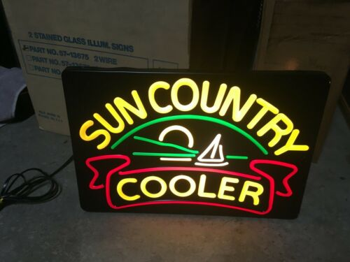Vintage Sun Country Wine Cooler Lighted Box Mirror Neo Neon Sign Sail Boat