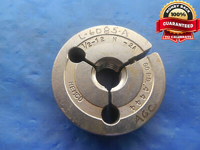 12 12 N 2a Thread Ring Gage .5 Go Only P.d. .4444 Un-2a 12-12 Quality Tool