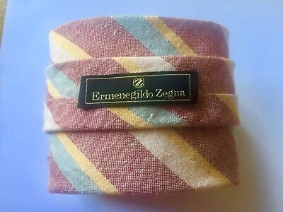 zegna tie blue red yellow white used once