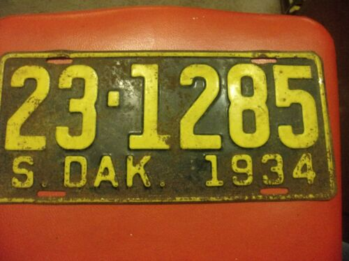 1934 SOUTH DAKOTA LICENSE PLATE VINTAGE