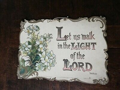 Antique 19th C. Religious Sign let's us walk in the light of the Lord card