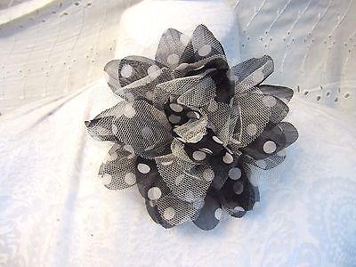 """6""""  **POLKA DOT - NET**  FLOWER Brooch Pin Back - BLACK & WHITE"""