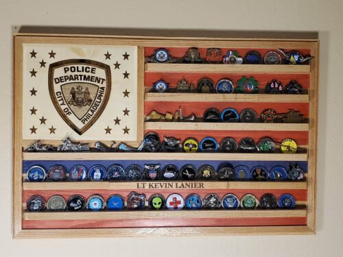 Philadelphia Police Department Challenge Coin display flag  36x20 PD-6 VA