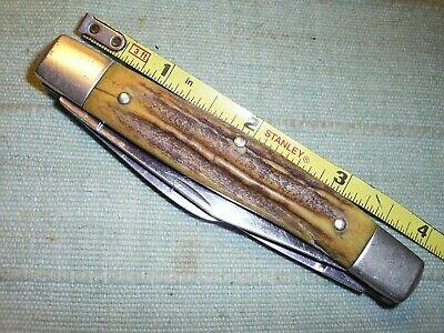 """Vintage GERMAN MADE BROWNING Pocket Knife Big Old 4"""" Stag Bone Handle Stockman"""
