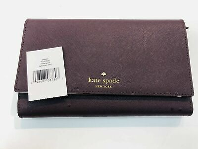Kate Spade New York Mikas Pond Phoenix Trifold Leather Wallet - Mahogany - NWT