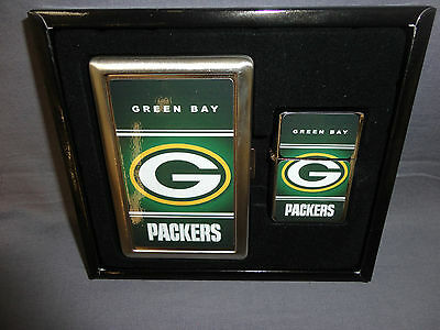 GREEN BAY PACKERS CLASSIC LOGO CIGARETTE CASE / WALLET AND LIGHTER GIFT - Green Bay Packers Gifts