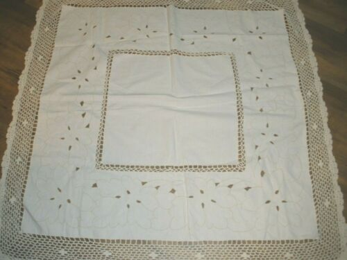 "VINTAGE OFF White Square Linen Crochet Edge Table Cloth 39""X 39"""