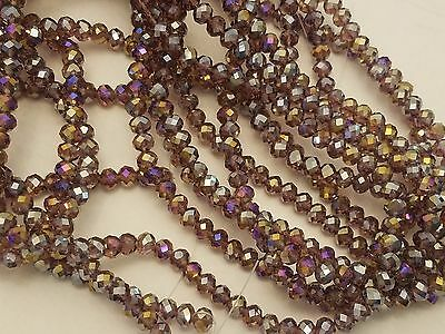 Electroplate Faceted Glass Beads, Plated, Abacus, Purple, 6x4mm, Hole 1mm Qty 20