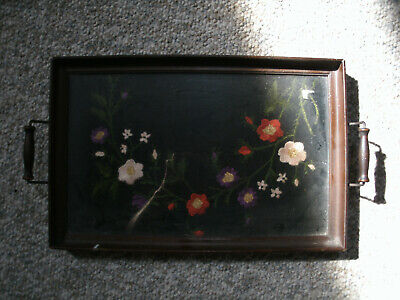 Antique Wood and Glass Butler Serving Tray - Floral Tapestry