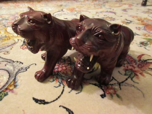 Carved Rosewood Tiger lot of 2