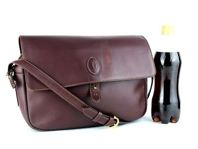 Authentic Must de Cartier Paris Bordeaux Leather Crossbody Shoulder Bag Purse